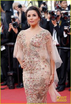 Eva Longoria wearing Marchesa at the 2017 Cannes Film Festival in Cannes, France