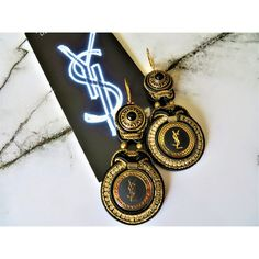 Soutache earrings (soutache earrings) with key, Authentic YSL Yves... ❤ liked on Polyvore featuring jewelry, earrings, beaded jewelry, beaded earrings, leather earrings, yves saint laurent jewelry and logo jewelry