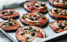 <p>These mini pizzas use eggplant as the crust instead of bread.</p>