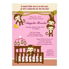 20 best monkey baby shower invitations for girl images on pinterest melanie monkey baby shower invitations filmwisefo