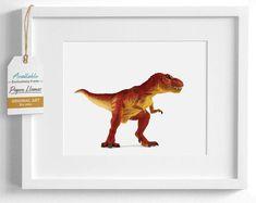 This red Tyrannosaurus Rex art print is perfect for a playfull kid's room. Meet the whole gang of adorable dinosaur artwork at Paper Llamas! Baby Giraffe Nursery, Woodland Animal Nursery, Girl Rooms, Boy Room, Nursery Artwork, Dinosaur Art, Tyrannosaurus Rex, Nursery Inspiration, Llamas
