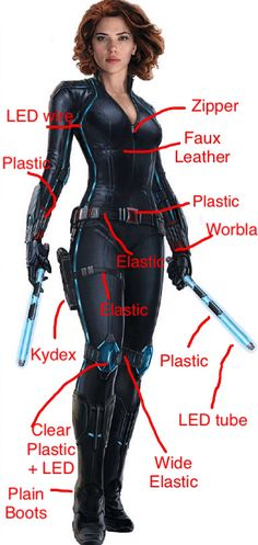 Here's a cosplay plan I made for a Black Widow cosplay awhile back. They are just ideas. You might come up with better ones.