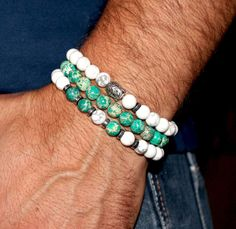 SALE - Spiritual Green Jasper Howlite Buddha Mala Bracelet Set, Men's Women's Yoga Bracelet Set, Meditation, Protection, Prayer Beads