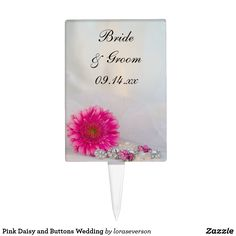 Pink Daisy and Buttons Wedding Cake Topper