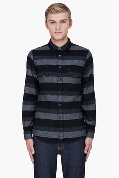 WINGS + HORNS - Charcoal Wool Striped Shirt