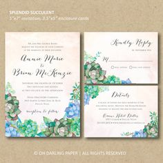Good Printable Wedding Invitation Succulent By OhDarlingPaper On Etsy