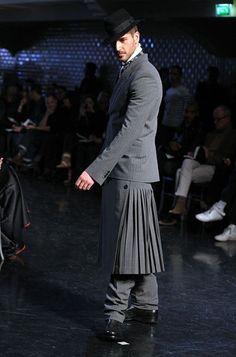 Jean Paul Gaultier model at men's fashion week