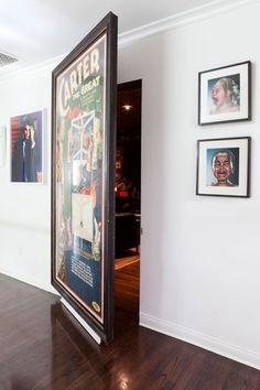Contemporary Home Theater with Hardwood floors, Carter The Great Framed Art Print 8081363, Hidden door