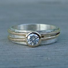 Moissanite Engagement or Wedding Ring with by mcfarlanddesigns - like the texture and combination of different metals