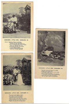 Set-of-3-GOODBYE-LITTLE-GIRL-Military-War-B-W-Postcards-Soldier-Kilt-Song-1900s