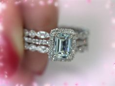 Hey, I found this really awesome Etsy listing at https://www.etsy.com/listing/207196996/3-ring-set-5x7mm-emerald-aquamarine-ring
