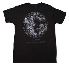 Men's standard fit Coldplay t-shirt featuring a cool Sky Full of Stars print on the front of a soft, 100% cotton t-shirt. Black color. Officially licensed. Small.