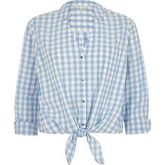 Blue gingham print tie front cropped shirt - shirts - tops - women