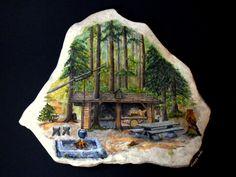 https://flic.kr/p/bv81aV | LA CABANE d' ÉRIC | ... mon frère. Il l'a construite lui même , bien cachée dans un coin de sa forêt , il s'y rend pour sculpter et pour trouver un peu de tranquillité ! Une ambiance idyllique :)*  Peinte sur une pierre plate 'ou presque' , dim. : 41 x 33 cm