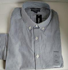 Mens Shirt 2XL Claiborne Slim Fit Athens Navy Long Sleeve  100% Cotton  #Claiborne #ButtonFront