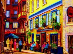 French Cafe Paintings | French Outdoor Cafe Painting Courtyard cafes