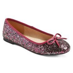 Girls' Fleta Glitter Ballet Flat Burgundy - Cherokee®