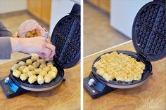 """Waffle Iron Hash Browns - this method is to put a single layer of semi-thawed (let sit out for awhile) """"Tater Tots"""" on the waffle iron and pressing down for 3 to 4 minutes actually resulted in the best hash browns, crispy on the outside, tender on the inside."""