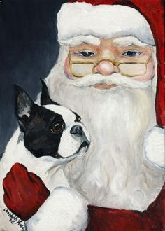 "Shop ""Boston Terrier Tells Santa"" Art Christmas Card created by CharlottesWebArt. Boston Terrior, Boston Terrier Art, Santa Paintings, Boston Art, Christmas Cards, Christmas Rock, Xmas, Merry Christmas, Little Dogs"