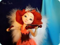 Collectible dolls handmade. West plays the violin (the angel). Yka Sun (San Yuka). Arts and crafts fair. felting doll