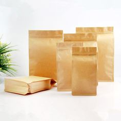 Stand Up Kraft Paper Side Gusset Package Bags Zip Lock Food Grade Pouch