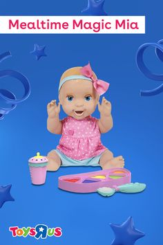 Mealtime Magic Mia is ready for yummy yummy food! Use the smart spoon and double-sided food palette to feed her some of her faves. Play with her, rock her to sleep and listen to over 70 sounds and reactions. Your littles will just love her!
