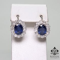 ANTIQUE ART DECO PLATINUM DIAMOND & SAPPHIRE EARRRINGS $4800 Period: Art deco (1920-1935) Composition: Platinum. Stones: •2 Natural oval cut sapphire that weigh 5ctw. (2.5ctw each) •26 Old mine cut diamonds of H-VS2 quality that weigh 1.80ctw. Earring measures: 15mm by 13 mm  Thick: 5mm Total weight: 5.3grams – 3.5dwt  (5710)
