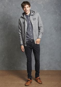 Our Kirkham Slim Jeans, worn with the Salcombe Shirt and Edderton Zip-Up Hoodie.  #JackWills