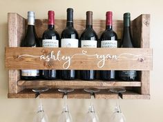 Personalized wine rack makes a great engagement, birthday or wedding gift! Unique Wine Racks, Rustic Wine Racks, Wood Pallet Wine Rack, Wine Glass Holder, Wine Bottle Holders, Wine Bottles, Wall Hanging Wine Rack, Wine Mom, Do It Yourself Furniture