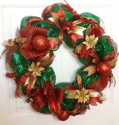 Christmas Deco Mesh Wreath Christmas Mesh by ADOORnedAccents