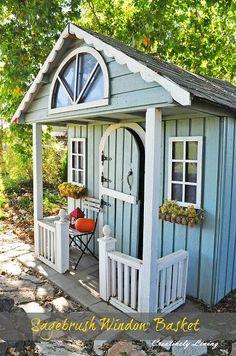 Backyard Sheds, Outdoor Sheds, Garden Sheds, Shed Playhouse, Playhouse Ideas, Greenhouse Shed, Wendy House, Shed Homes, She Sheds