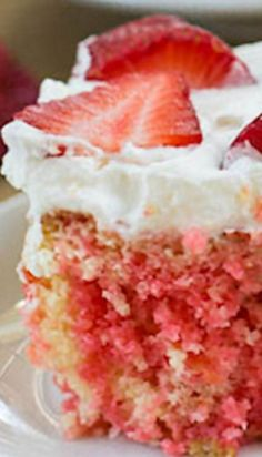 This Easy Strawberry Poke Cake is made from a box of cake mix and it is super moist with plenty of strawberry flavor plus a whipped cream topping. Strawberry Poke Cakes, Strawberry Cake Recipes, Poke Cake Recipes, Dessert Recipes, Strawberry Shortcake, Strawberry Cheesecake, Pie Recipes, Dessert Ideas, Cupcakes