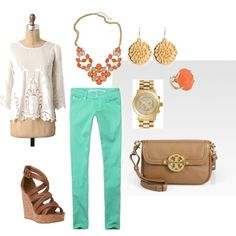 love the colors! i want the shirt and jewelry!