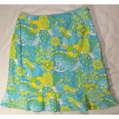 "Briggs Casual Cotton Blend Floral Skirt Sz 10 Briggs Casual Womens Blue Green Yellow Cotton Blend Floral Skirt Sz 10  Size 10 Shell 97% Cotton, 3% Spandex Waist = 30"" Length = 20""  Excellent used condition - no rips, tears, stains or pilling. Skirts A-Line or Full"