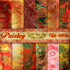 Digital Paper Pack Old Decoupage Paisley Personal and Commercial use by DigitalMagicShop, $2.50