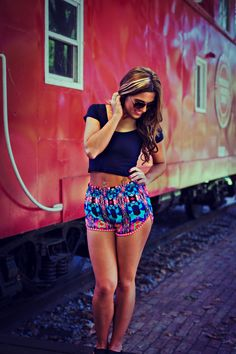Crop top and printed shorts! #beach #style