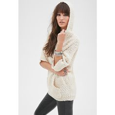 Forever 21 Forever 21 Women's  Hooded Popcorn Knit Sweater ($33) via Polyvore featuring tops, sweaters, cream, full length sweater, v neck knit sweater, 3/4 sleeve sweaters, knit tops and hooded knit sweater