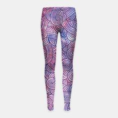 """Purple zentangles"" Girl's Leggings by Savousepate on Live Heroes #leggings #leggins #pants #kidsapparel #kidsclothing #pattern #graphic #modern #abstract #doodles #zentangles #scrolls #spirals #arabesques #purple"