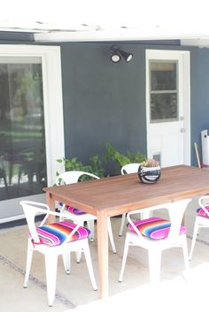 back patio with mexican blanket covered chairs, serape upholstery Outdoor Spaces, Outdoor Living, Outdoor Decor, Outdoor Patios, Outdoor Kitchens, Outdoor Chairs, Amber Interiors, Back Patio, House Tours