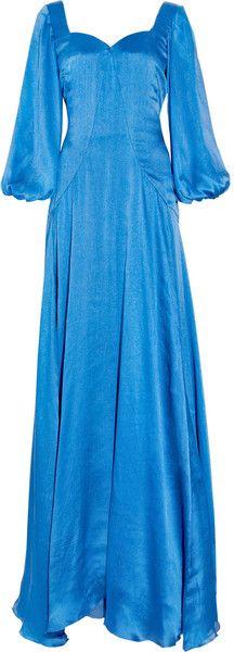 Alexander McQueen Dresses for Women Satin Gown, Silk Satin, Alexander Mcqueen Dresses, Blue Balloons, Shirt Skirt, Gowns, Balloon Sleeves, Chandelier Earrings, Coat