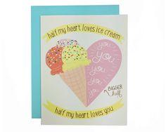 Half My Heart Loves Ice Cream Card  Valentine's by FolkandFaunaCo