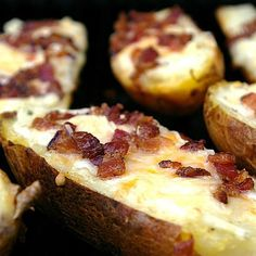 This is a quick and easy recipe for grilled potato skins. This dish is perfect for summer barbecues or Super Bowl parties.