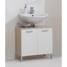 'Simplicity is the ultimate form of sophistication' A #vanity cabinet with 2 doors is the best choice who intend to #remodel your bathroom in simple way. Furniture in fashion provides it in a gorgeous ash tree and white finish color.