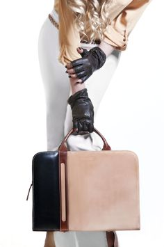 all leather.. gloves + bag