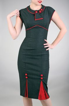 vintage Business dress in black & Red, Classy - Stop Staring! Clothing