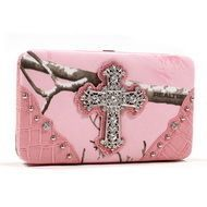 Dasein(R) Extra Deep Wallet w/ Rhinestone Cross in Real Tree(R) APP Pink Camo/Pink Trim Q311-DC-RT1-AW251A APP/LPK