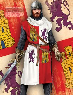 Rodrigo Diaz de Vivar (El Cid) as he might appear in the year he took Valencia. Medieval Knight, Medieval Armor, Medieval Fantasy, Medieval Party, High Middle Ages, Armadura Medieval, History Of England, Age Of Empires, Renaissance