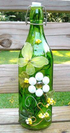 Green and White Glass Bottle Light Lamp Lighted Wine by booklooks, $22.00