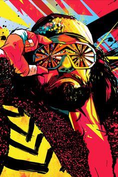 pop art of the macho man randy savage. Wrestling Posters, Wrestling Wwe, Wrestling Costumes, Wwe Wallpapers, Hd Wallpapers For Mobile, Mobile Wallpaper, Iphone Wallpapers, Screensaver Iphone, Savage Wallpapers