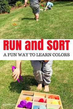 color sorting games for outdoor play this summer. Toddler game for sorting and a preschool game for movement. Use tongs for fine motor development and run back and forth for gross motor skills. #outdoorplay #preschoollife #toddlerlife #games